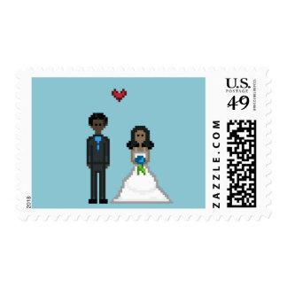 Geek Pixel Bride and Groom Stamps