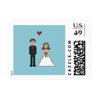Geek Pixelated Bride and Groom Stamps