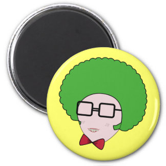 Geek Power with a Green Afro Wig & a Bow Tie 2 Inch Round Magnet