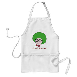 Geek Power with a Green Afro Wig & a Bow Tie Adult Apron