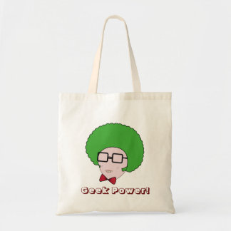 Geek Power with a Green Afro Wig & a Bow Tie Budget Tote Bag