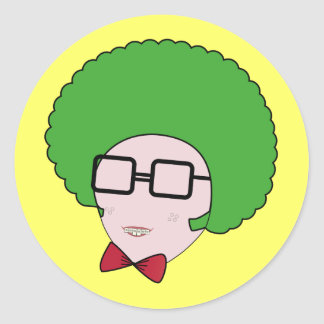 Geek Power with a Green Afro Wig & a Bow Tie Classic Round Sticker