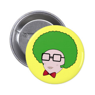 Geek Power with a Green Afro Wig & a Bow Tie Pinback Button