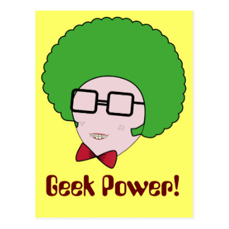 Geek Power with a Green Afro Wig & a Bow Tie Postcard