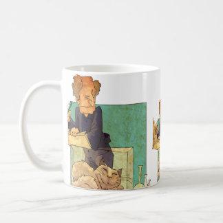 Geek profesor writing with cat and beakers coffee mug