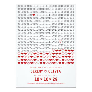 Geek Programmed For Love Binary Code Save The Date Personalized Invites
