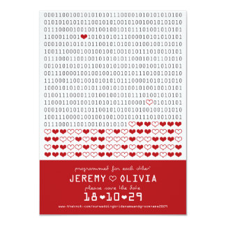Geek Programmed For Love Binary Code Save The Date Custom Announcements