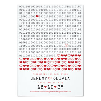 """Geek Programmed For Love Binary Code Save The Date 4.5"""" X 6.25"""" Invitation Card"""