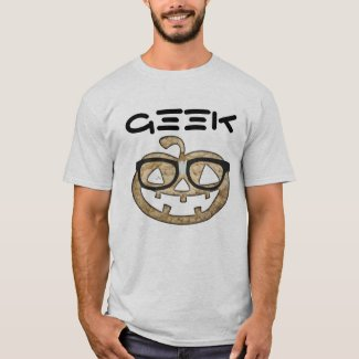 Geek pumpkin with glasses casual men's t-shirt