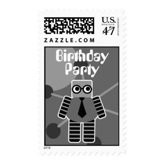Geek Robot Birthday Party Postage Stamps