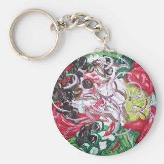 Geek Salad from original painting art Basic Round Button Keychain