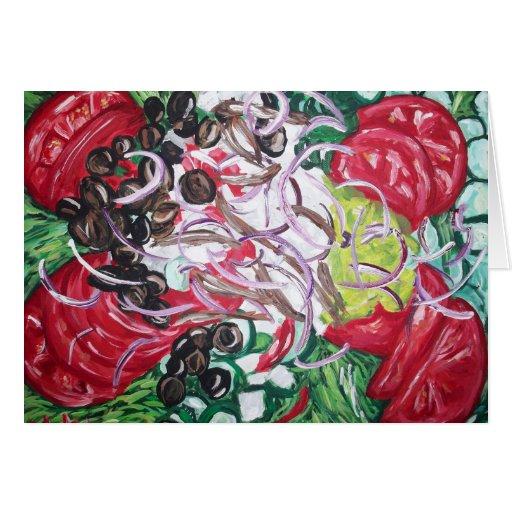 Geek Salad from original painting art Cards