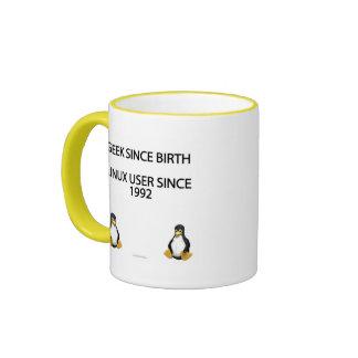 Geek since birth. Linux user since 1992. (mug) Ringer Mug