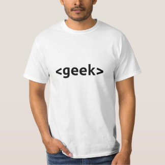 Geek Start and End Tags on White T-Shirt