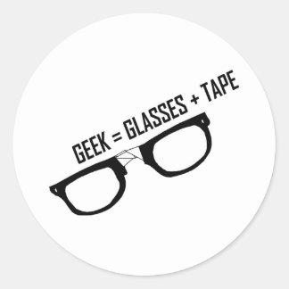 Geek = Tape + Glasses Classic Round Sticker