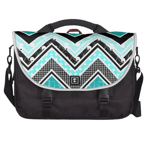 Geek Turquoise, Black and White Chevron pattern Laptop Computer Bag