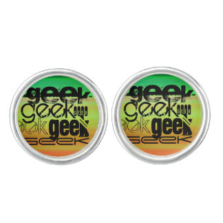 Geek; Vibrant Green, Orange, & Yellow Cufflinks