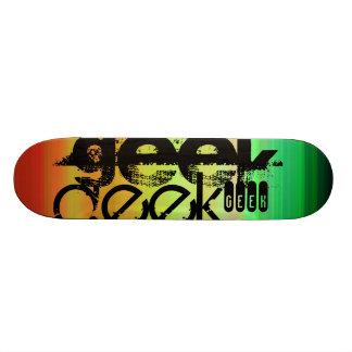 Geek; Vibrant Green, Orange, & Yellow Skateboard Deck