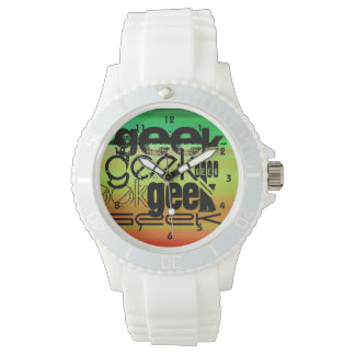 Geek; Vibrant Green, Orange, & Yellow Wrist Watch