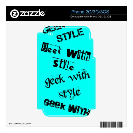 Geek With Style Text- Light Blue Decal For iPhone 3G