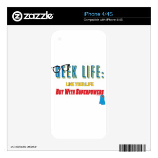 Geek With Superpowers Decals For iPhone 4