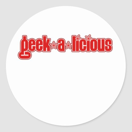 Geekalicious rojo pegatina redonda