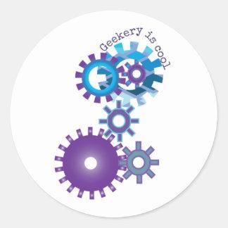 Geekery Steampunk Gears Round Sticker