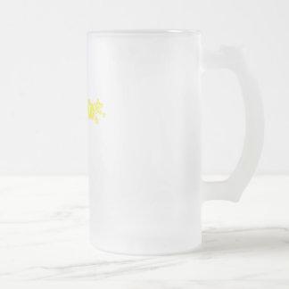 Geekette amarillo taza cristal mate