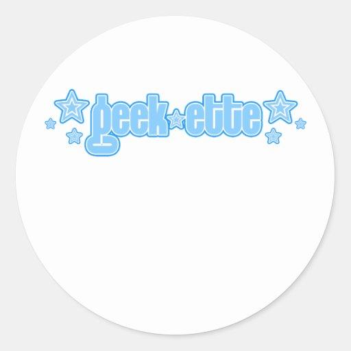 Geekette azul etiquetas redondas