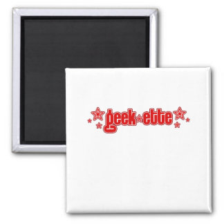 Geekette rojo imán cuadrado