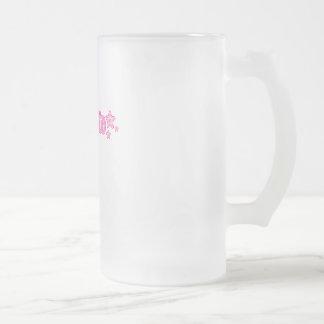 Geekette rosado taza cristal mate
