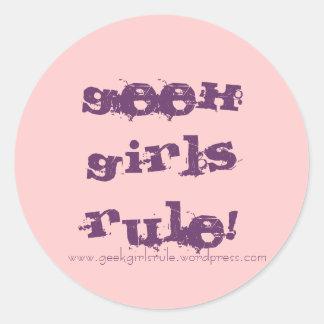 GeekGirlsRule! (Pink & Purple) Classic Round Sticker