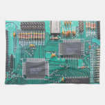 Geeks circuit board, motherboard, computer design kitchen towel