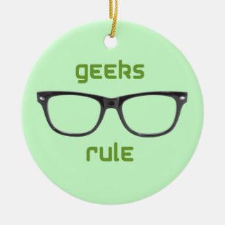 Geeks Rule Eyeglasses Ceramic Ornament