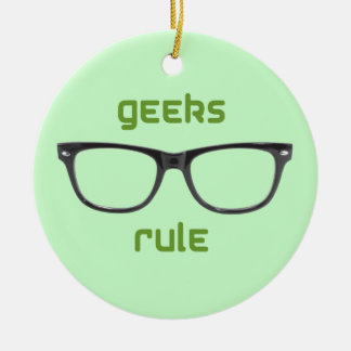 Geeks Rule Eyeglasses Double-Sided Ceramic Round Christmas Ornament