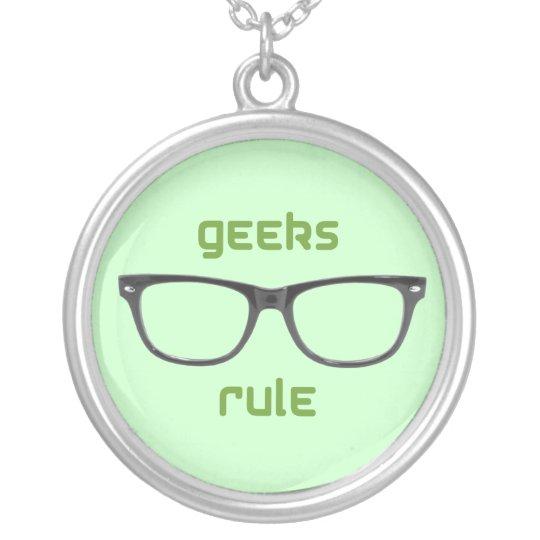 Geeks Rule Eyeglasses Silver Plated Necklace