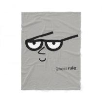 """""""Geeks Rule"""" Funny-looking Face with Eyeglasses Fleece Blanket"""