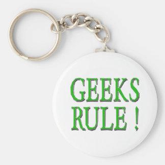 Geeks Rule !  Green Keychain