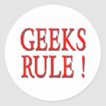 Geeks Rule !  Red Classic Round Sticker