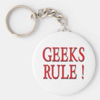 Geeks Rule !  Red Keychain
