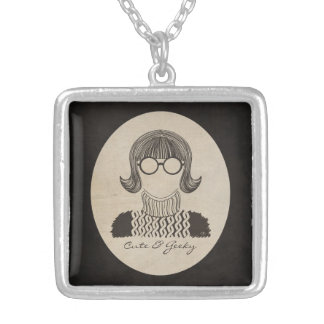 Geeky and Cute Square Pendant Necklace