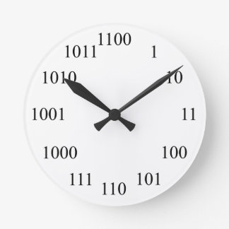 Geeky Binary Number System Round Clock