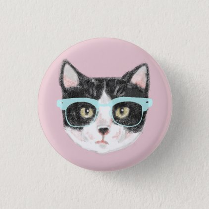 Geeky Black & White Hipster Cat Wearing Glasses Pinback Button