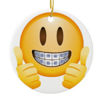 Geeky Braces Emoji Ceramic Ornament