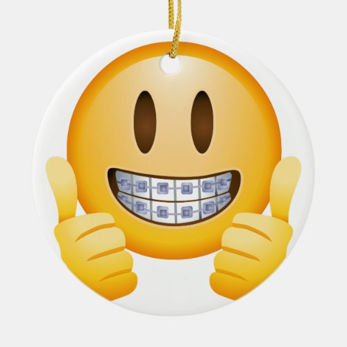 Geeky Braces Emoji Ceramic Ornament