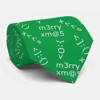 Geeky Christmas Emoticons Patterned Green Tie