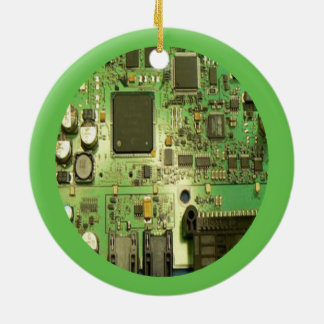 Geeky Circuit Board with Green Border Double-Sided Ceramic Round Christmas Ornament