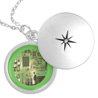 Geeky Circuit Board with Green Border Silver Plated Necklace