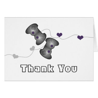 Geeky Gamer Thank You Card (Silver/Purple)