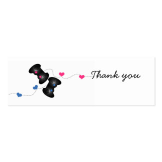 Geeky Gamer Thank You Mini Cards Dark (Blue/Pink) Double-Sided Mini Business Cards (Pack Of 20)
